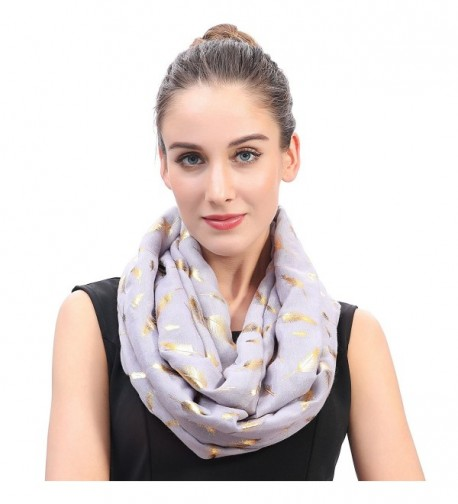 Lina & Lily Metallic Gold Feather Women's Infinity Loop Scarf - Light Gray - CI18543WH0I
