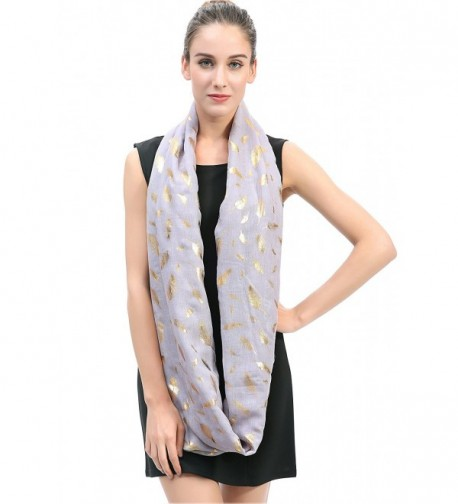 Lina Lily Metallic Feather Infinity in Fashion Scarves