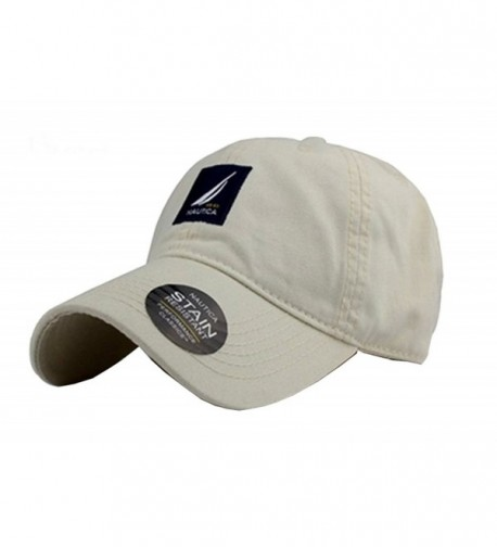 NAUTICA Embroidered Logo Solid Color Adjustable Baseball Hats For Men and Women - Beige - CK12DC2LMAZ