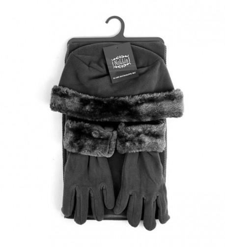 Women's 3 PC Cloche Faux Fur Trim Fleece Hat Scarf & Gloves Winter Set - Dark Gray - C8188OT3OW2