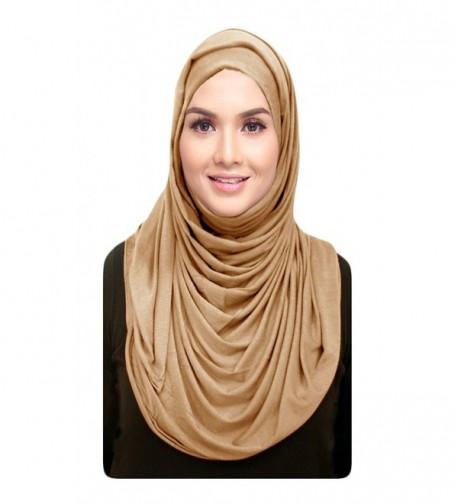 Hana's Womens Cotton Jersey Hijab Scarf One Size - Beige - CR128BHM3RN