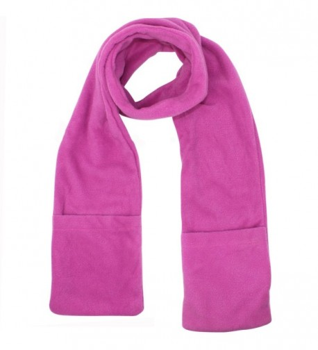 Heated Fleece Unisex Winter Scarf With Pockets - Pink - C2187C84SC4