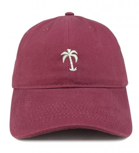 Trendy Apparel Shop Palm Tree Embroidered Soft Low Profile Adjustable Cotton Cap - Maroon - CF185HMQ85R
