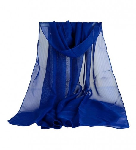 TONSEE Women Chiffon Scarf Fashion Shawl Stole - Blue - CT12LMT5EKZ