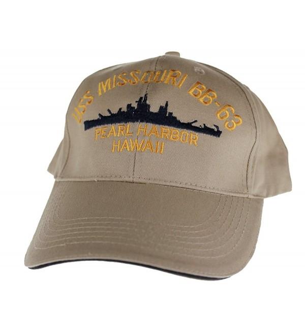 Embroidered USS Missouri Battle Ship cap hat- Khaki - C2116ML1L6P