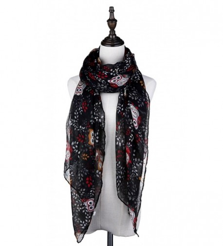 Lamamamas Lightweight Soft Fashion Scarf Owl Print Shawl Wrap Scarves for Women - Black - C0189TQZCCA