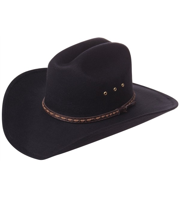 Enimay Western Outback Cowboy Hat Men's Women's Style Felt Canvas - Plain Black - CL18032M9XK