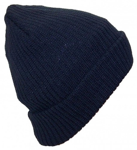 Best Winter Hats Adult Solid Color Thick W/Fleece Lined Cuffed Winter Hat (One Size) - Navy - CR11Q5DBK4N