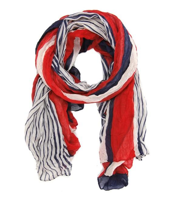 Bucasi Nautical Red White and Blue Stripe Scarf - C211FLRUS83