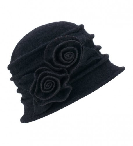 Lawliet 1920s Gatsby Womens Flower Wool Warm Beanie Bow Hat Cap Crushable A287 - Black - CA1263WXZJ3