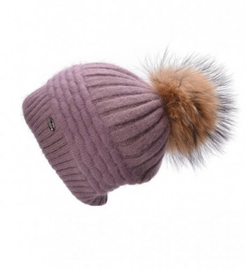 Lawliet Womens Winter Angora Knit Beanie Hat Skull Fleece Pom Pom Ski Cap A462 - Light Purple - CD186W4NE45