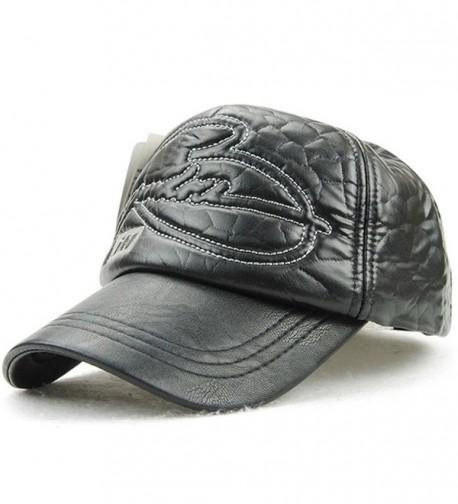 YOYEAH YOYEAH's Baseball Cap Leather Hat Sun Cap Adjustable Size - Black - CQ182OTG9LY