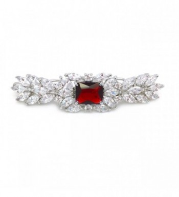 Marquise Cluster Red Cubic Zirconia Wedding Party Fancy Hair Clip Barrette 2.25 inches - Red - CF11CBB3F2D