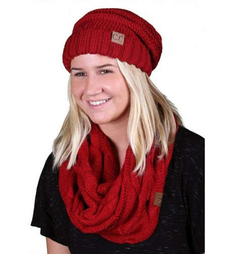 CC Oversized Slouchy Beanie Bundled With Matching Infinity Scarf - Red - CL188YQOU7G