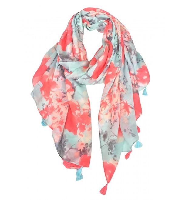 GERINLY Womens Scarves: Blumarine Floral Pattern Soft Wrap Scarf - Orangered+lightcyan - CA126OXLOFX