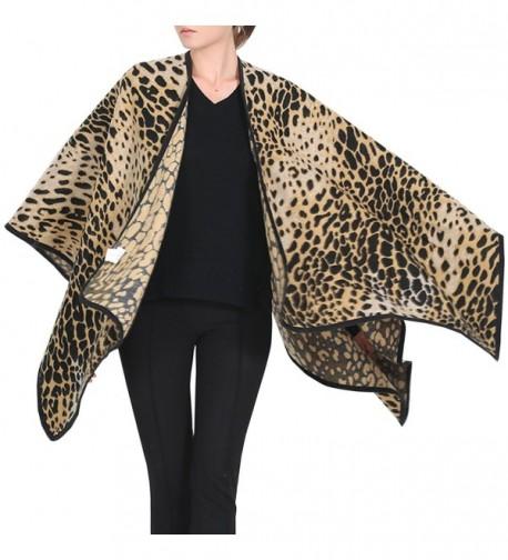 Futurino Women's Winter Leopard Big Scarf Blanket Warm Poncho Shawl Wrap - Light Coffee - CC12MYNFGH5
