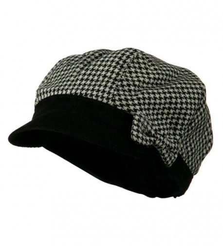 Libby Houndstooth Cabbie Cap - Black W16S53F - C611C0N07NH