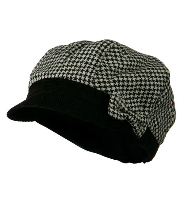 Libby Houndstooth Cabbie Cap - Black W16S53F - C611C0N07NH