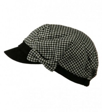 Libby Houndstooth Cabbie Cap Black in Women's Newsboy Caps