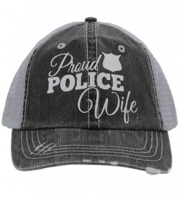 Proud Police Wife Glittering Distressed Trucker Style Cap Hat Rocks any Outfit - CY17YDZCI2D
