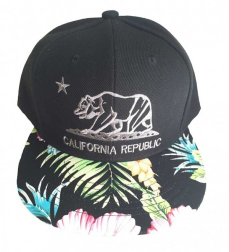 Aesthetinc California Republic Cali Bear Cap Hat Flat Bill Snapback with Floral Flower Print - Black Floral - CA124DAO7ZH