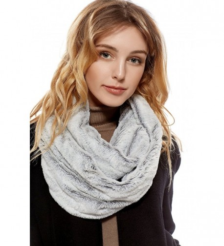 Ladies Snood Faux Fur Stole Reversible Shawl Infinity Wrap Scarf Fashion Scarves - Gray- White - CA187LQZ42X