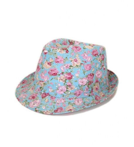 Cotton Floral Sequin Sparkle Fedora Hat - Different Colors Available - Blue - CO11G28LANB