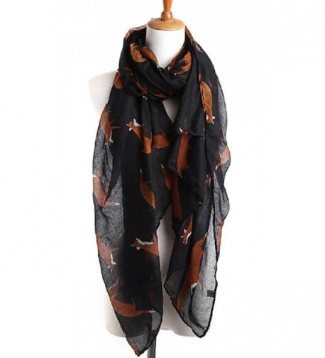 Sannea Lovely Fox Print Chiffon Scarves Scarf for Women/Girls - Black - C0125S66NE9