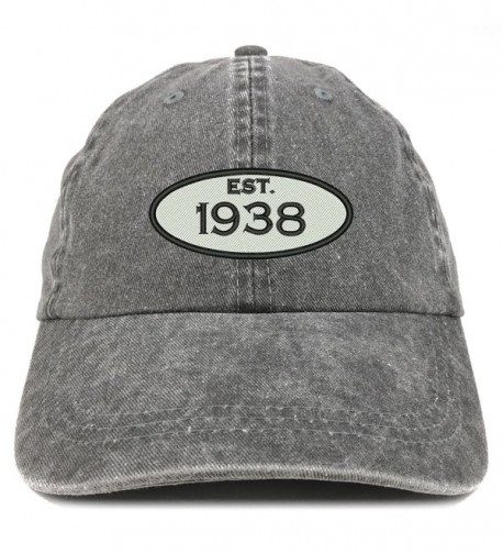 release date 8f8ea 50a11 Established 1938 Embroidered 80th Birthday Gift Pigment Dyed Washed Cotton  Cap Black CF12O351ZKQ