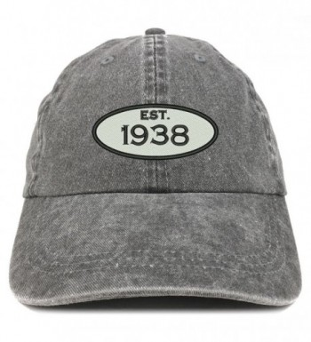Trendy Apparel Shop Established 1938 Embroidered 80th Birthday Gift Pigment Dyed Washed Cotton Cap - Black - CF12O351ZKQ
