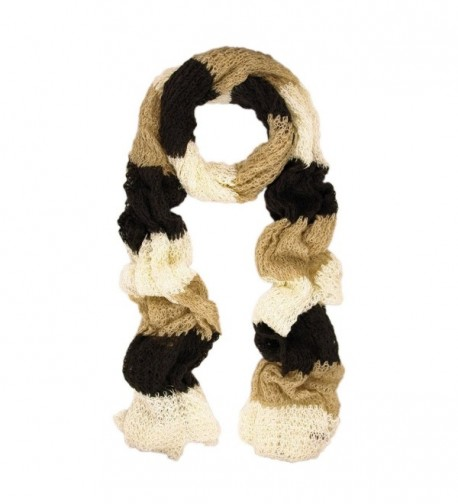 Long Winter Warm Knit Striped Shimmer Scarf - Different Colors Available - Brown - CQ11CL25WIH