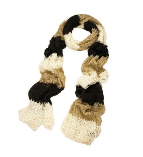 Winter Striped Shimmer Scarf Brown