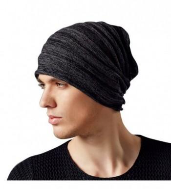 Kenmont Autumn Winter Men Warm 100% Cotton Outdoor Knitted Beanie Hat Skull Slouch Cap - Black Grey - C5121TOIKWH