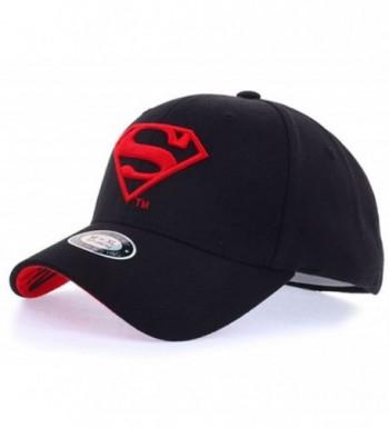 Superman Shield Embroidery Flex-Fit Strech Fit Fitted Baseball Cap Trucker Hat - Black/Red - C8184U4HM9X