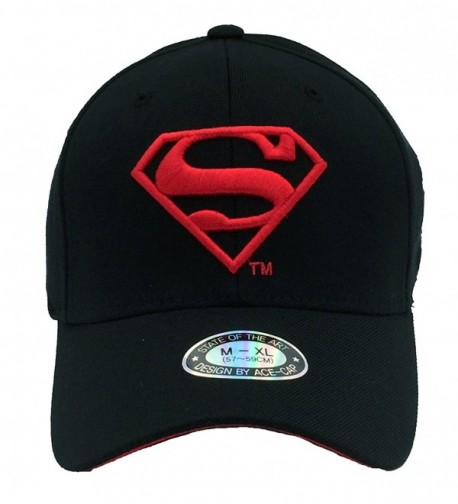 POPKORS Superman Embroidery Flex Fit Baseball in Men's Baseball Caps