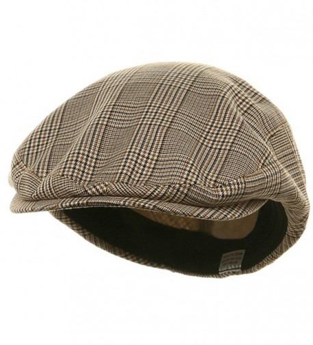 Big Size Elastic Plaid Fashion Ivy Cap - Beige (For Big Head) - CV113HAHOZ5