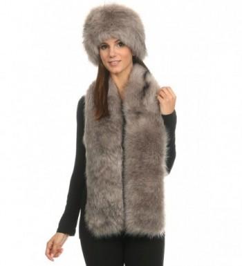 LL Bundle - 2 Items: Womens Faux Fur Russian Pillbox Hat - Soft Stole Scarf Wrap - Gray - CW12NSJRRRE