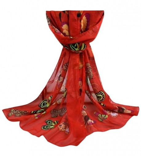 Leewa New Trendy ! Women Long Shawl Chiffon Butterfly Print Scarf - Red - CE12OHZL9KO
