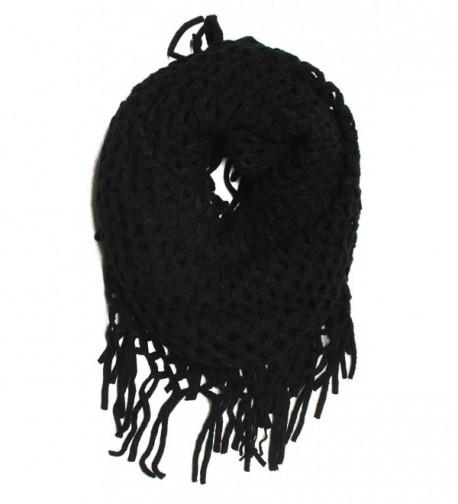 "DRY77 Knitted Fishnet Chain Loop Eternity Infinity Scarf - ""Black - 27"""" X 50"""""" - CS110SVRVUZ"