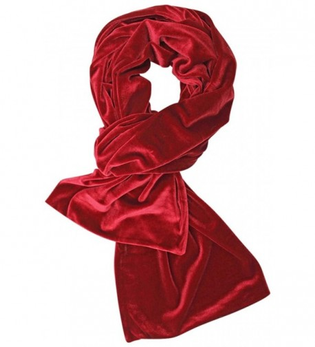 Long Velvet Evening Scarf - Red - CI128O8OS6D