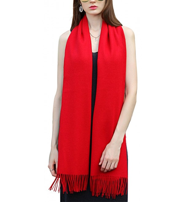 Super Soft Cashmere Blanket Scarf with Tassel Red Warm Shawl Gift Valentine's Day - Red - CO1879IQT4W