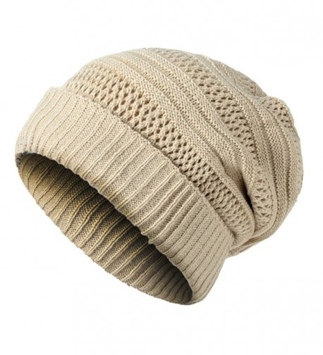 adea7102a618e JAKY Global Unisex Oversized Cable Knit Slouchy Beanie Warm Thick Winter  Hats Skull Cap - Beige