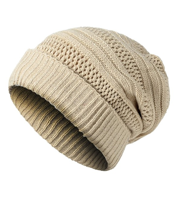 e7b69dab1471 JAKY Global Unisex Oversized Cable Knit Slouchy Beanie Warm Thick Winter  Hats Skull Cap - Beige