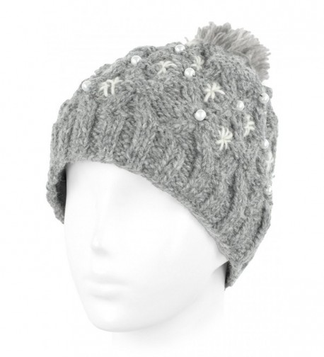 Knit Wool Beanie Skull Cap Toque With Fleece Lining - Oxford Gray- White Pompom - CS129ZTCAJB