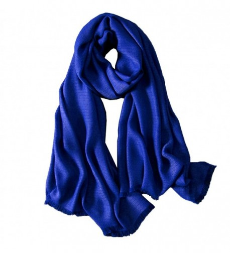 CosyZanx Women Lightweight Scarf Soft Fashion Cotton Wrap in Solid Colors - Blue - CB189I6GE9G