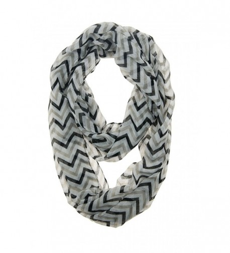FuzzyGreen Chevron Fall Loop Autumn Infinity Scarf - Black and Grey - CQ11TJRYG2Z