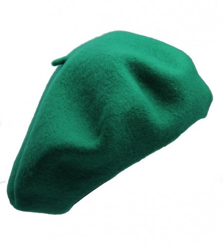 Beret hat Classic Solid Color 100% Wool soft warm Beret Beanie Hat Winter Autumn Fashion Caps - Green - C1186W24YLZ