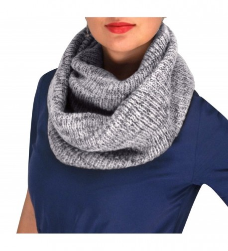 Peach Couture Noro Striped Winter Infinity Loop Cozy Cowl Scarves - Gray - CY12MZTEUML
