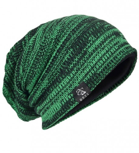 HISSHE Men Oversize Skull Slouch Beanie Large skullcap Knit Hat - Green - C0183YWT4WE