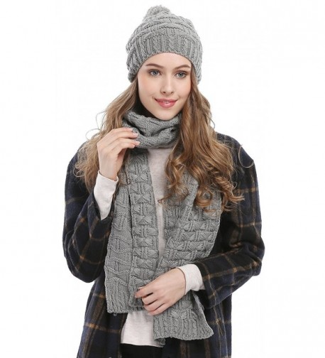 Women Fashion Winter Warm Knitted Scarf and Hat Set Skullcaps - Grey_style - C412O0D953M